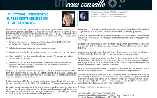 Loi littoral : une réforme sur les dents creuses qui se fait attendre (cabinet d'avocats Rennes-St Brieuc) 0